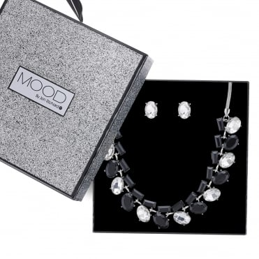 Crystal multi shape allway necklace and earring set