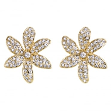 Crystal pave floral stud earring