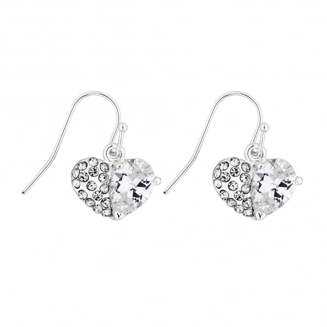 Lipsy Silver Crystal Pave Heart Earrings