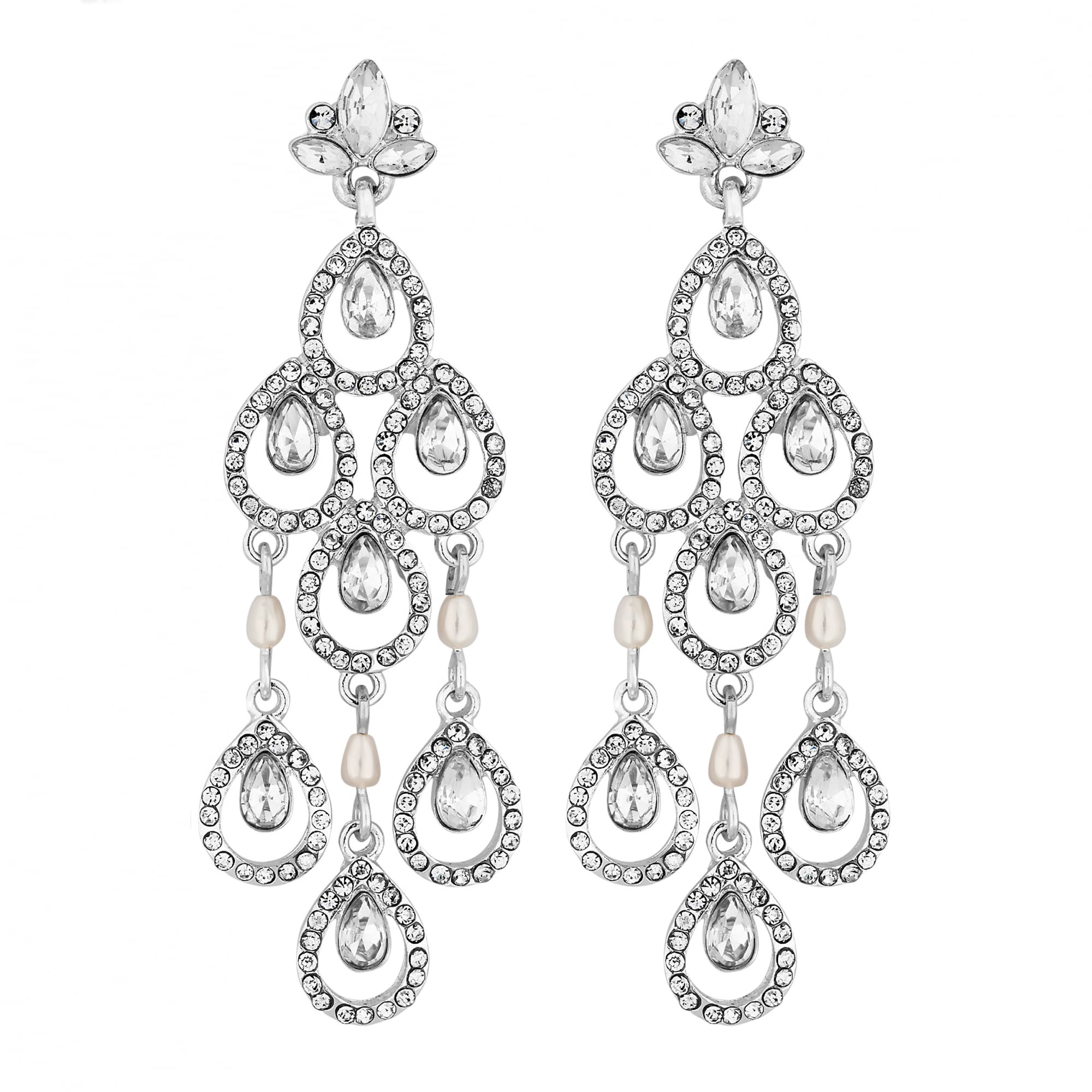 Silver Crystal Pear Drop Chandelier Earring