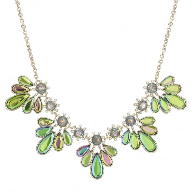 Gold Crystal Petal Statement Necklace