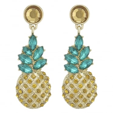 Gold Yellow Crystal Pineapple Statement Earring