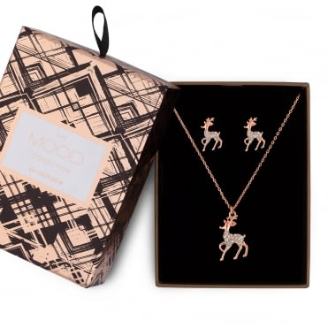 Crystal reindeer jewellery set in a gift box