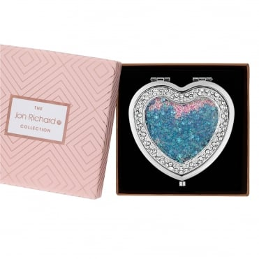Silver And Blue Crystal Shaker Heart Shaped Compact Mirror In A Gift Box