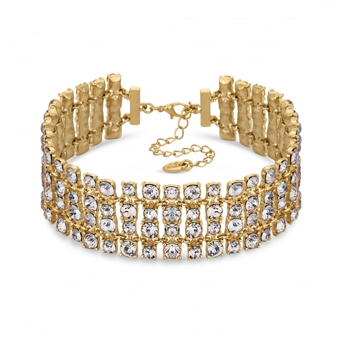 Gold Crystal Statement Choker Necklace