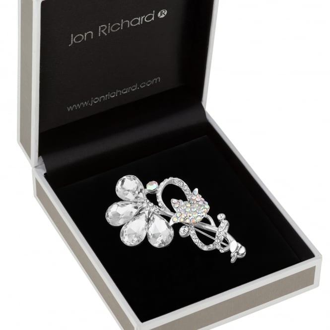 Jon Richard Crystal tulip sprig brooch