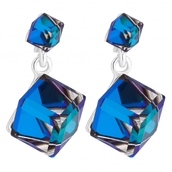 Silver Blue Cube Drop Earring Embellished With Swarovski Crystals