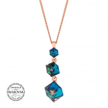Cube drop necklace MADE WITH SWAROVSKI CRYSTALS
