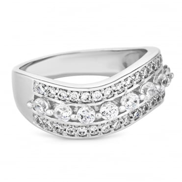 Silver Plated Cubic Zirconia Wave Band Ring