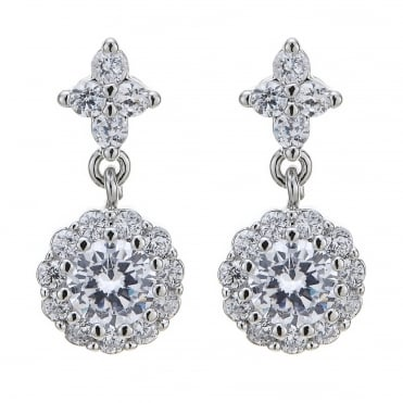 Cubic zirconia crystal cluster drop earring