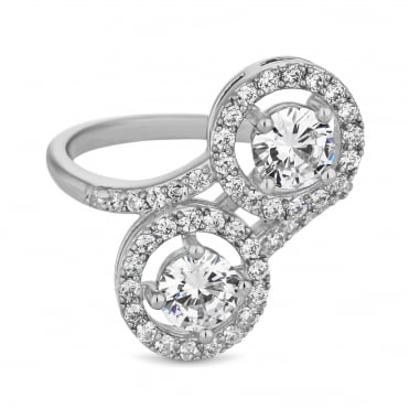 Silver Plated Cubic Zirconia Double Halo Ring