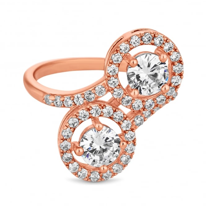 Jon Richard Rose Gold Plated Cubic Zirconia Double Halo Ring