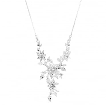 Cubic zirconia floral cluster necklace