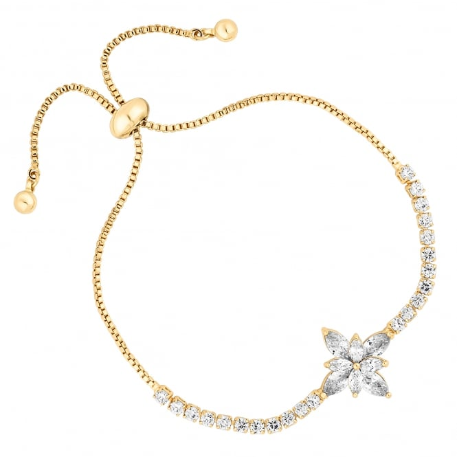 Jon Richard Gold Plated Cubic Zirconia Floral Toggle Bracelet