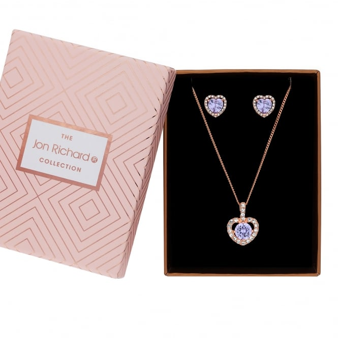 Jon Richard Rose Gold Plated Purple Cubic Zirconia Halo Heart Jewellery Set In A Gift Box