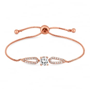 Cubic zirconia halo toggle bracelet