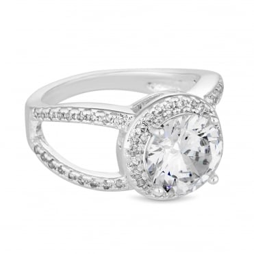 Silver Plated Cubic Zirconia Open Halo Ring