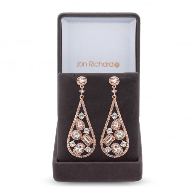 Jon Richard Cubic zirconia open peardrop earring