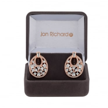 Cubic zirconia oval drop earring