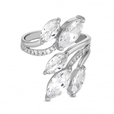 Cubic zirconia petal wrap ring