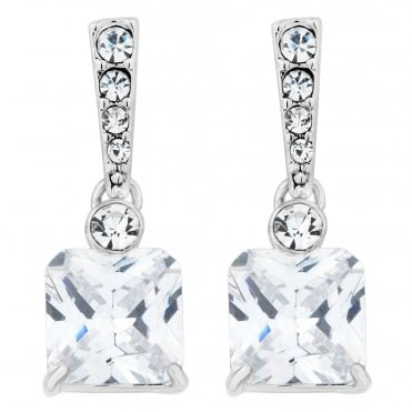 Cubic zirconia square pave crystal earring