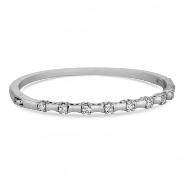 Silver Plated Cubic Zirconia Square Row Bangle