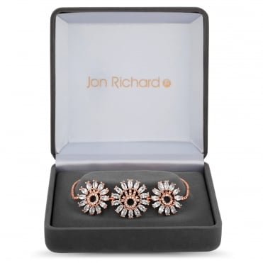 Rose Gold Plated Cubic Zirconia Sunflower Toggle Bracelet In A Gift Box