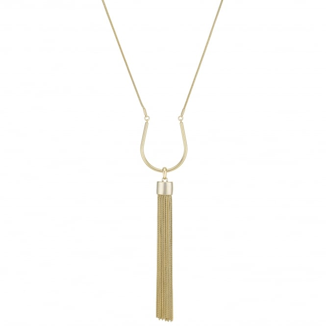 Gold Curved Tassel Long Necklace