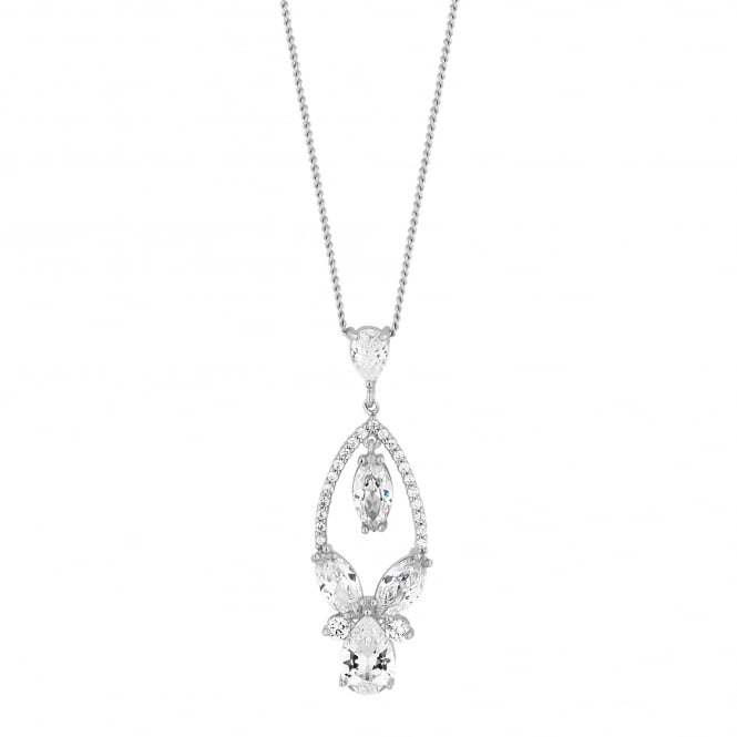 Designer Silver Crystal Open Pear Drop Necklace