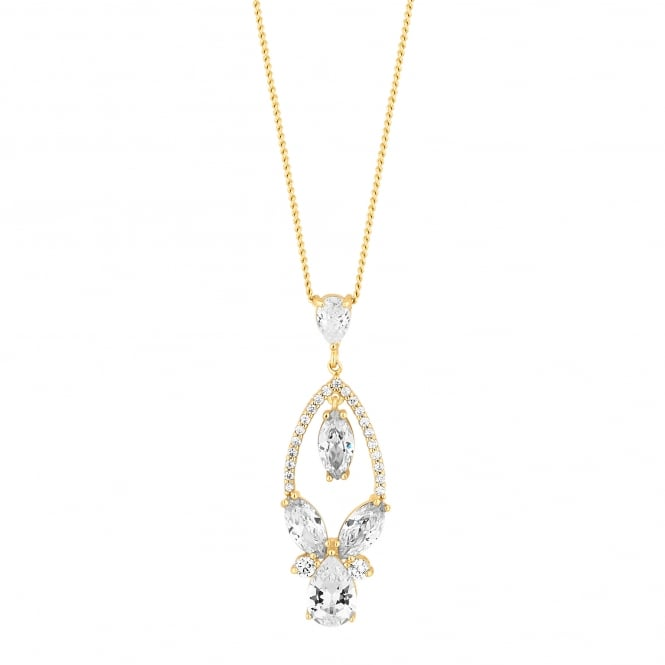 Designer Gold Crystal Open Pear Drop Necklace