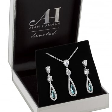 Designer Silver Blue Crystal Pear Drop Jewellery Set In A Gift Box