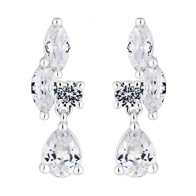Designer Cubic Zirconia Cluster Drop Earring
