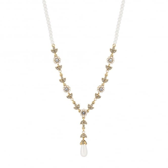Designer Gold Pearl Floral Y Drop Necklace