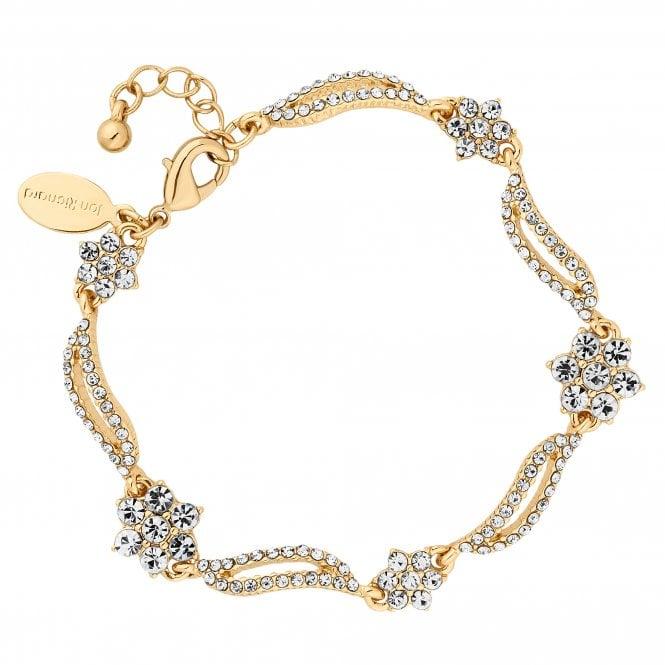 Designer Gold Crystal Floral Wave Bracelet