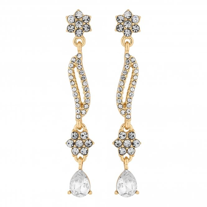 Designer Gold Crystal Floral Wave Drop Earring