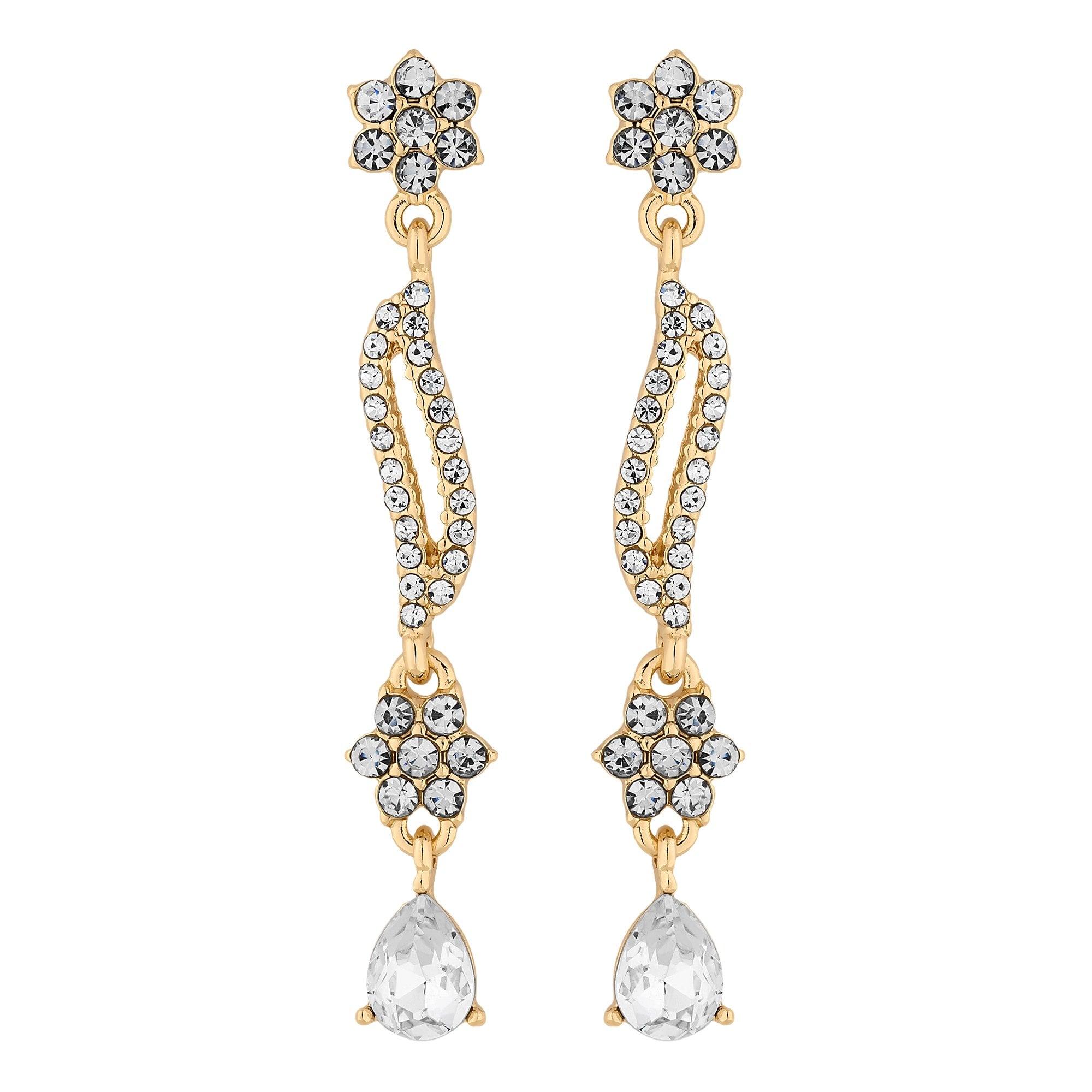 Alan Hannah Devoted Designer Gold Crystal Fl Wave Drop Earring