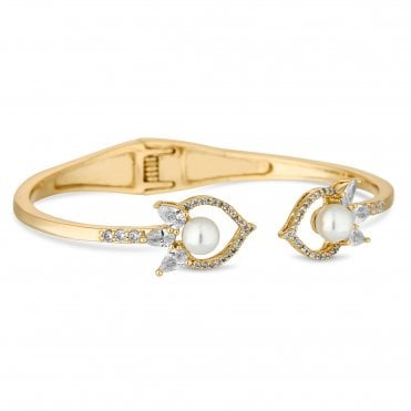 Designer Gold Cubic Zirconia And Pearl Bangle