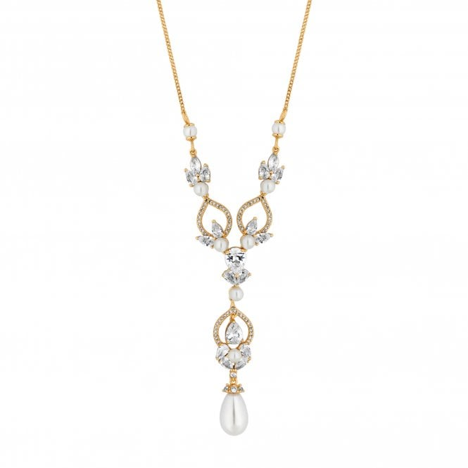 Designer Gold Cubic Zirconia And Pearl Pendant Necklace