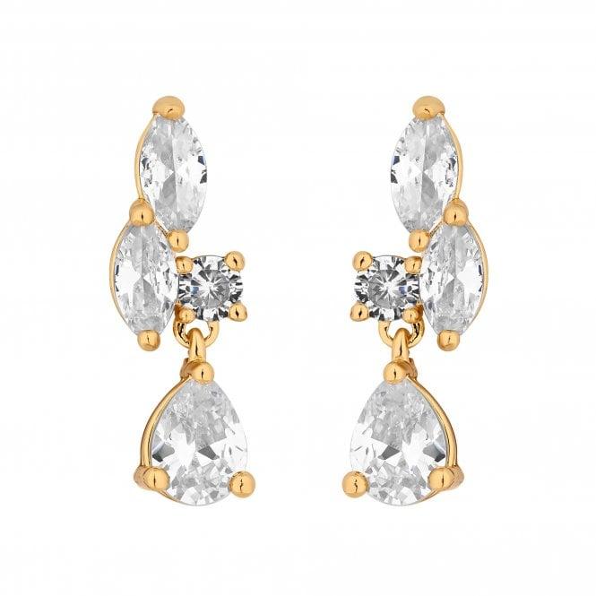Designer Gold Cubic Zirconia Cluster Drop Earring