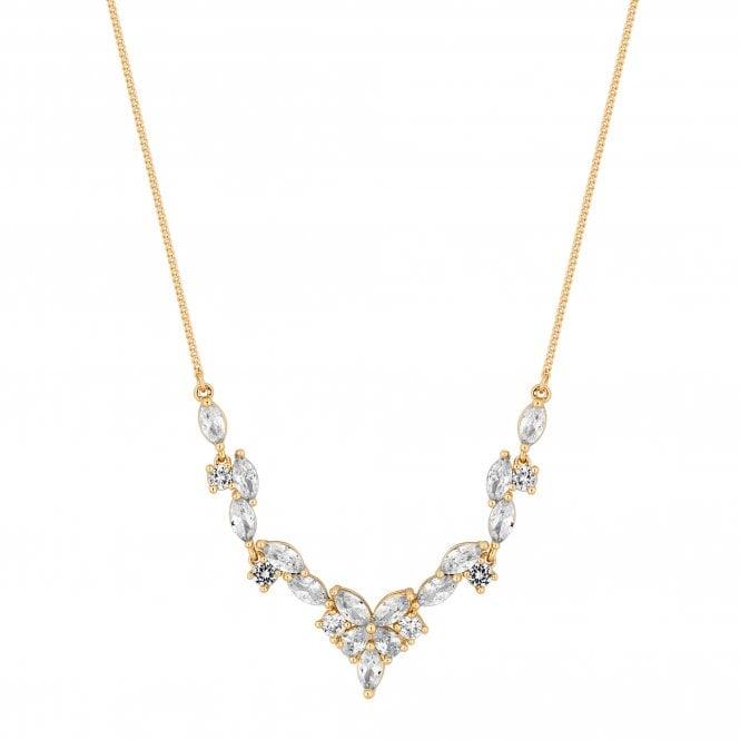 Designer Gold Cubic Zirconia Cluster Pendant Necklace