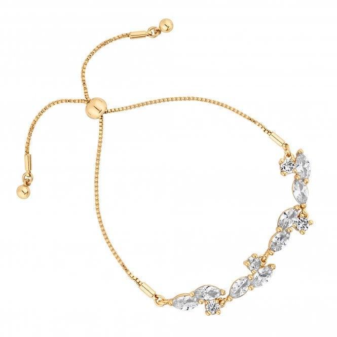 Designer Gold Cubic Zirconia Cluster Toggle Bracelet