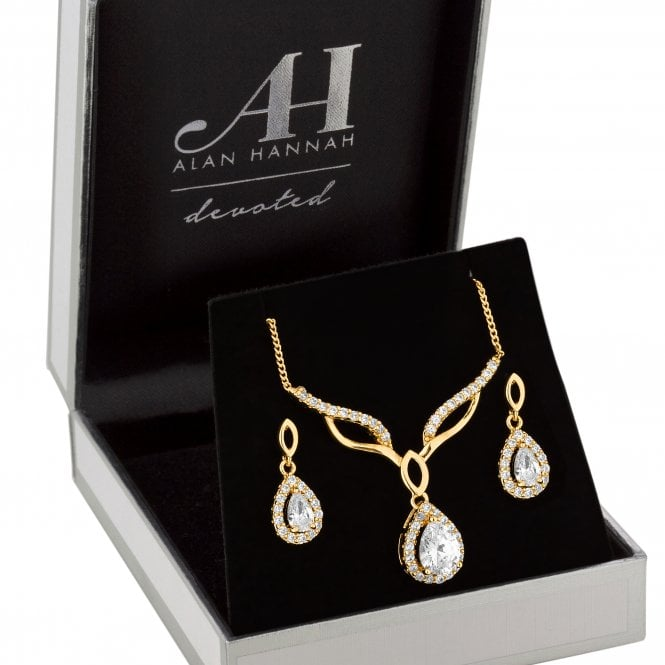 Designer Gold Cubic Zirconia Peardrop Jewellery Set