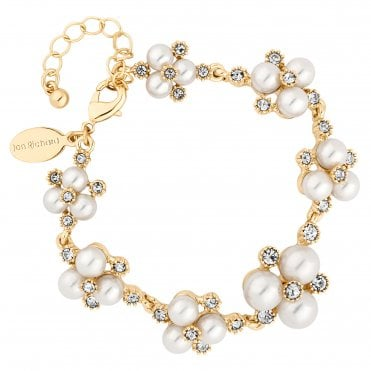 Designer Gold Pearl And Crystal Cluster Bracelet