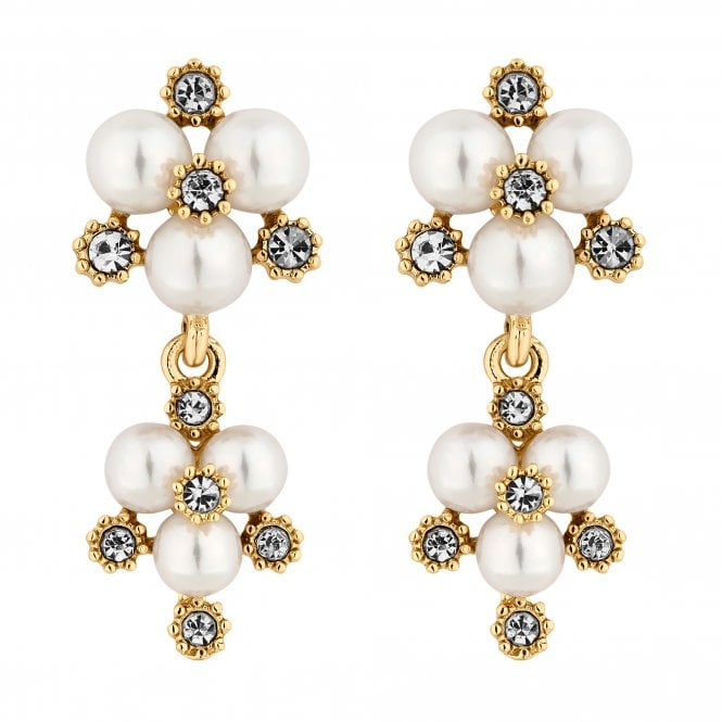 Designer Gold Pearl And Crystal Cluster Drop Earring