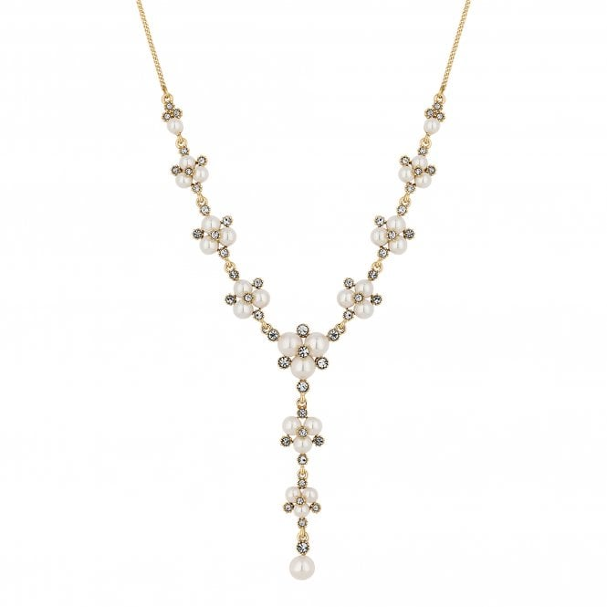 Designer Gold Pearl And Crystal Cluster Lariat Necklace