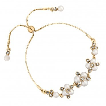 Designer Gold Pearl And Crystal Cluster Toggle Bracelet