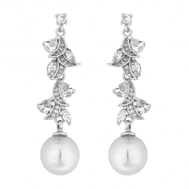 Alan Hannah Devoted Designer Silver Pearl And Cubic Zirconia Navette Twist Drop Earring