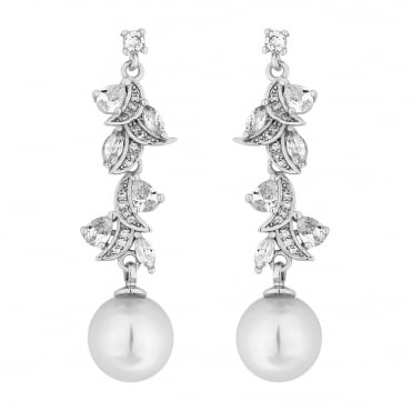 Designer Silver Pearl And Cubic Zirconia Navette Twist Drop Earring