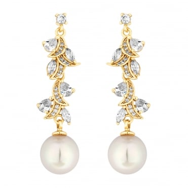 Designer Gold Pearl And Cubic Zirconia Navette Twist Drop Earring