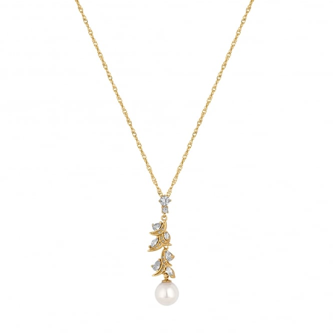 Alan Hannah Devoted Designer Gold Cubic Zirconia And Pearl Navette Twist Necklace
